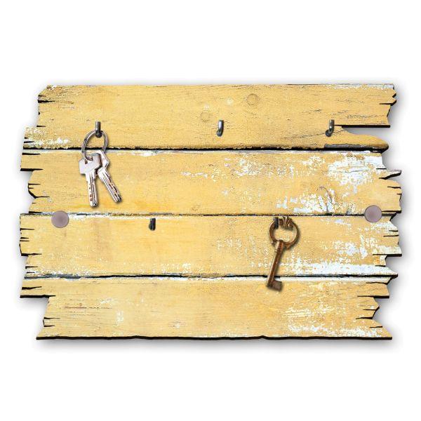 Holzstruktur gelb Schlüsselbrett mit 5 Haken im Shabby Style aus Holz