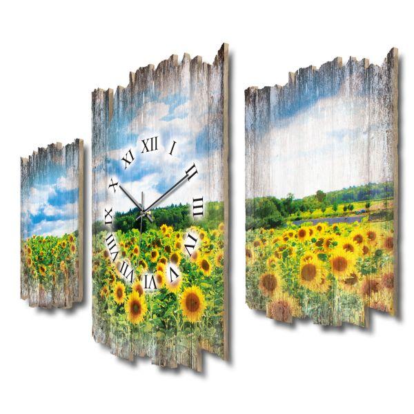 Sonnenblumenfeld Shabby chic Dreiteilige Wanduhr aus MDF mit leisem Funk- oder Quarzuhrwerk