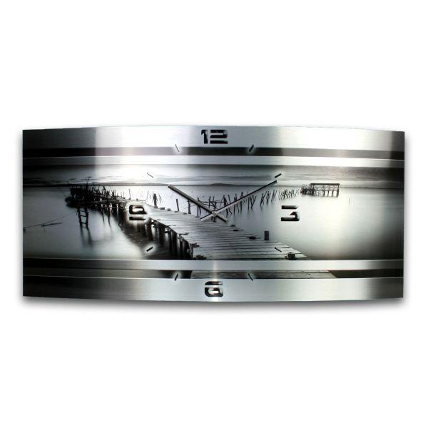 Wanduhr Steg Metallic aus gebürstetem Aluminium mit leisem Funkuhrwerk