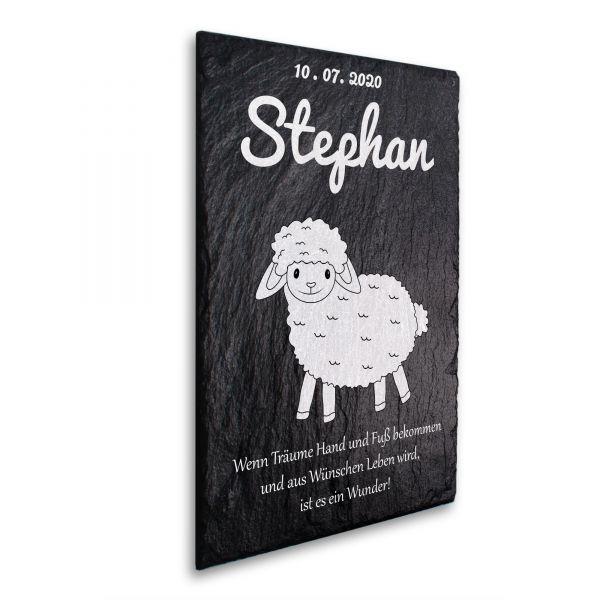 Baby Schaf Deko-Schild aus echtem Schiefer mit Ihrem Wunschtext