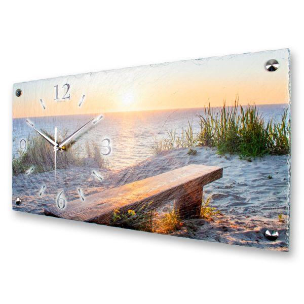 """Designer Wanduhr """"Bank am Strand"""" aus echtem Naturschiefer mit leisem Funk- oder Quarzuhrwerk"""
