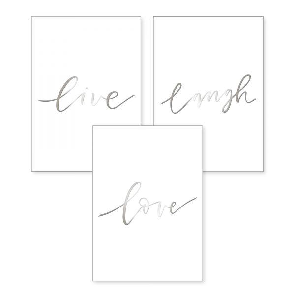 """Live Love Laugh"" mit Chrom-Effekt veredeltes Poster - optional mit Rahmen - 3x DIN A4"