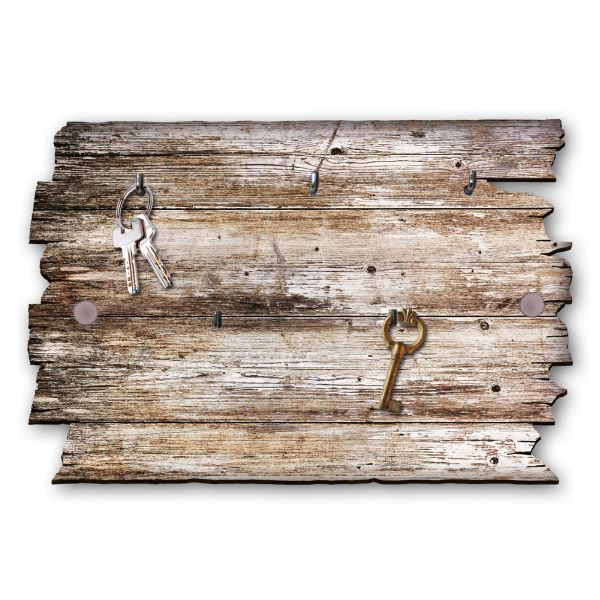 Holzstruktur Schlüsselbrett mit 5 Haken im Shabby Style aus Holz
