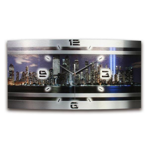 Wanduhr New York Metallic aus gebürstetem Aluminium mit leisem Funkuhrwerk