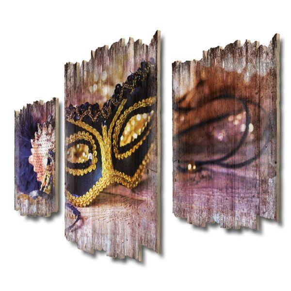 Maskenball Shabby chic 3-Teiler Wandbild aus Massiv-Holz