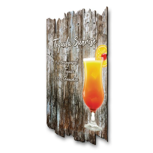 "Cocktail-Holzschild ""Tequila Sunrise"""