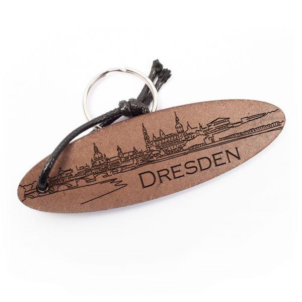 Schlüsselanhänger oval aus Echtleder mit Gravur im Used Look | Dresden