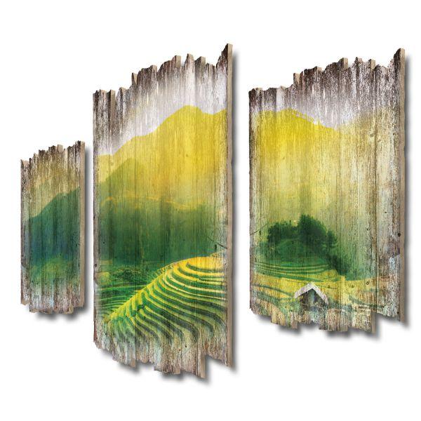 Grüne Terrassen Shabby chic 3-Teiler Wandbild aus Massiv-Holz