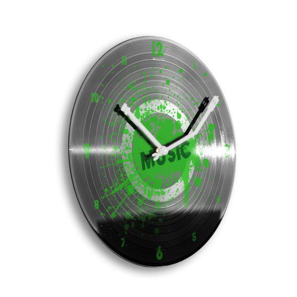 """Schallplattenuhr """"Music Green"""" wahlw. mit leisem Funk- oder Quarzuhrwerk"""
