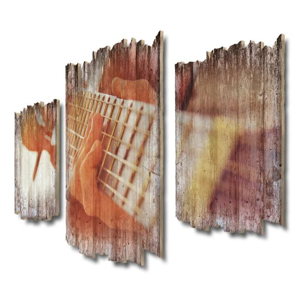 Gitarre Shabby chic 3-Teiler Wandbild aus Massiv-Holz