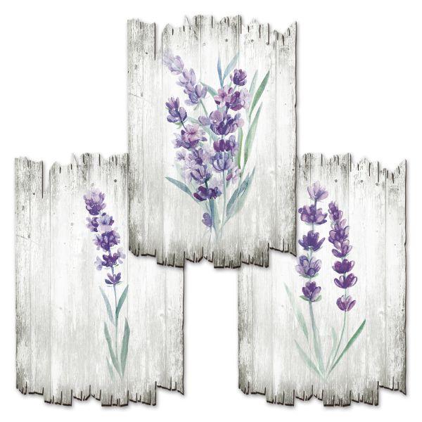 Lila Blüten   Deko-Holzschilder im 3er Set   wahlw. in 30x20cm oder 30x45cm