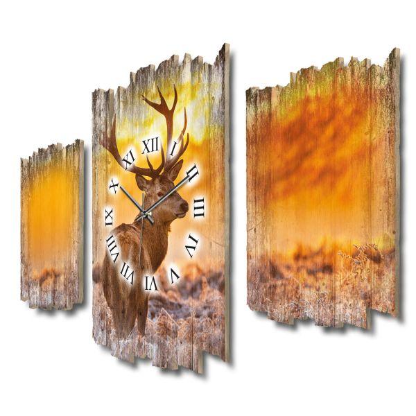 Hirsch im Nebel Shabby chic Dreiteilige Wanduhr aus MDF mit leisem Funk- oder Quarzuhrwerk