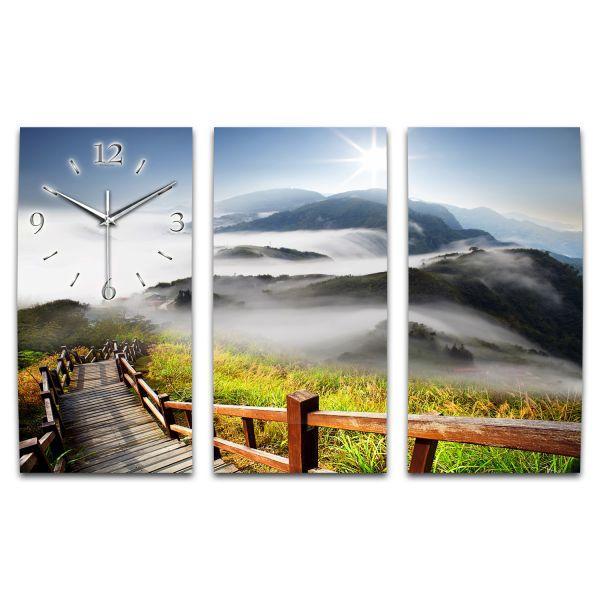 3 Teilige Wanduhr Berglandschaft XXL aus Aluminium mit leisem Funkuhrwerk