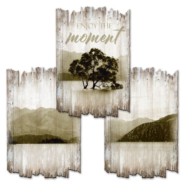 Enjoy the Moment | Deko-Holzschilder im 3er Set | wahlw. in 30x20cm oder 30x45cm