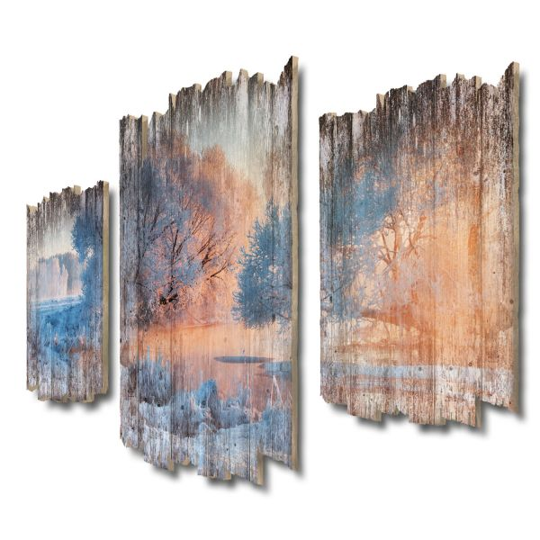 Winterwunderland Shabby chic 3-Teiler Wandbild aus Massiv-Holz