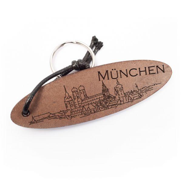 Schlüsselanhänger oval aus Echtleder mit Gravur im Used Look | München