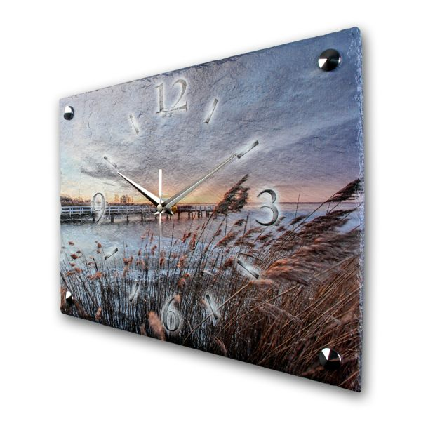 """Designer Funk-Wanduhr """"Morgensonne Strand"""" aus echtem Naturschiefer mit leisem Funk- oder Quarzuhrwe"""