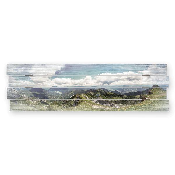 Bergpanorama | Shabby chic Holzbild | ca.100x30cm