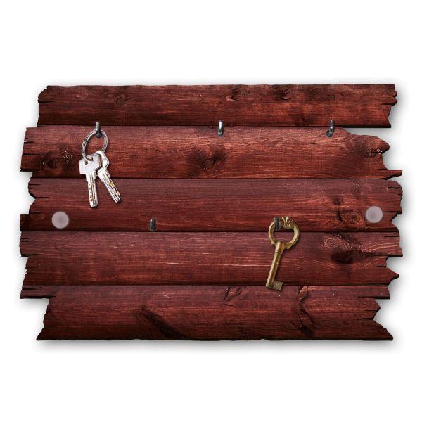 Holzstruktur rot Schlüsselbrett mit 5 Haken im Shabby Style aus Holz