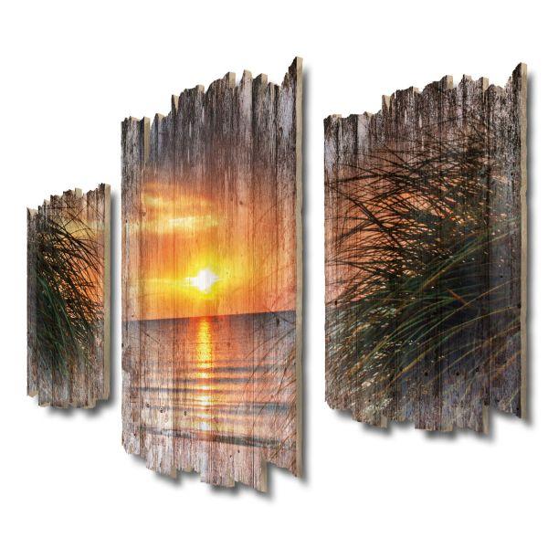 Sonnenuntergang am Meer Shabby chic 3-Teiler Wandbild aus Massiv-Holz