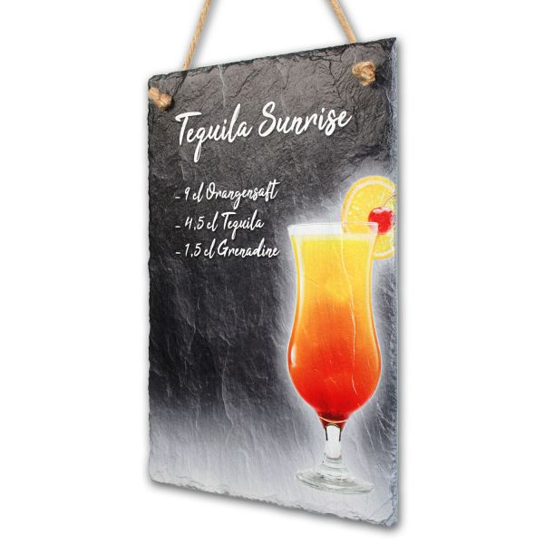 "Cocktail-Schieferschild ""Tequila Sunrise"""