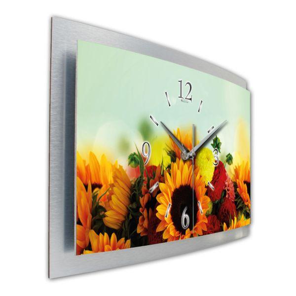 """3D Wanduhr """"Sonnenblumen & Dahlien"""" aus gebürstetem Aluminium mit leisem Funkuhrwerk"""