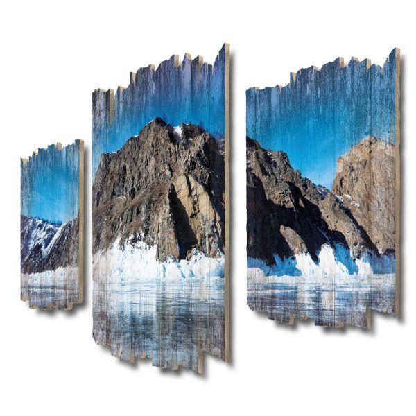 Baikal See Shabby chic 3-Teiler Wandbild aus Massiv-Holz