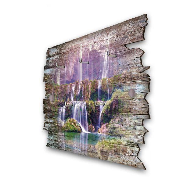 Lila Wasserfall Schlüsselbrett mit 5 Haken im Shabby Style aus Holz