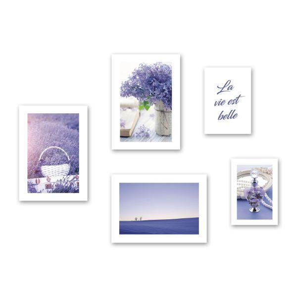 """""""Lavendel"""" 5-teiliges Poster-Set - optional mit Rahmen - 3x DIN A3 & 2x DIN A4"""