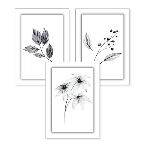 3-teiliges Poster-Set | Pflanzen grau | optional mit Rahmen | DIN A4 oder A3