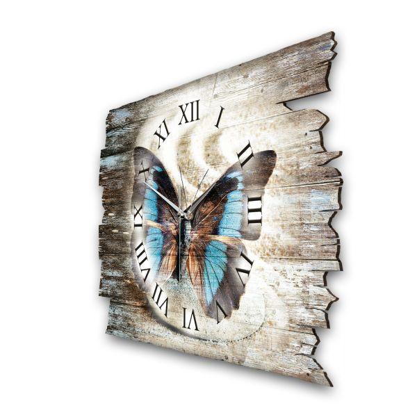 """Designer Funk-Wanduhr """"Schmetterling"""" aus Naturholz mit leisem Funk- oder Quarzuhrwerk"""