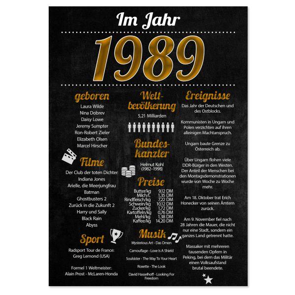 1989 Poster | für Geburtstag, Jubiläum oder Hochzeitstag | Party-Schild | A4 oder A3