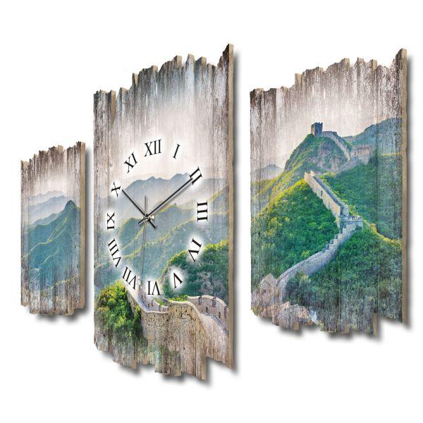 Chinesische Mauer Shabby chic Dreiteilige Wanduhr aus MDF mit leisem Funk- oder Quarzuhrwerk