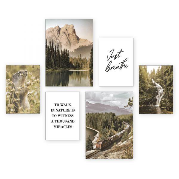 """Just Breathe"" 6-teiliges Poster-Set - optional mit Rahmen - 2 x DIN A3 & 4 x DIN A4"