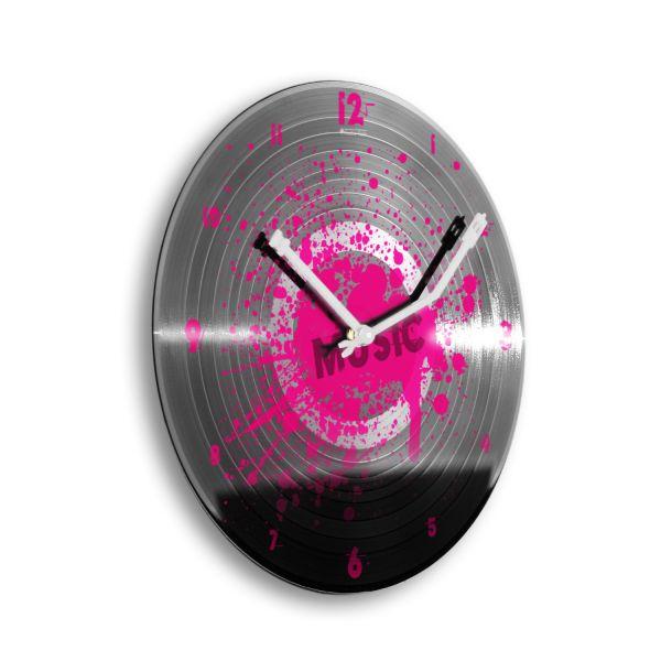 """Schallplattenuhr """"Music Pink"""" wahlw. mit leisem Funk- oder Quarzuhrwerk"""