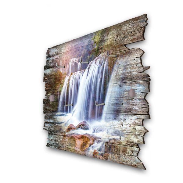 Großer Wasserfall Schlüsselbrett mit 5 Haken im Shabby Style aus Holz