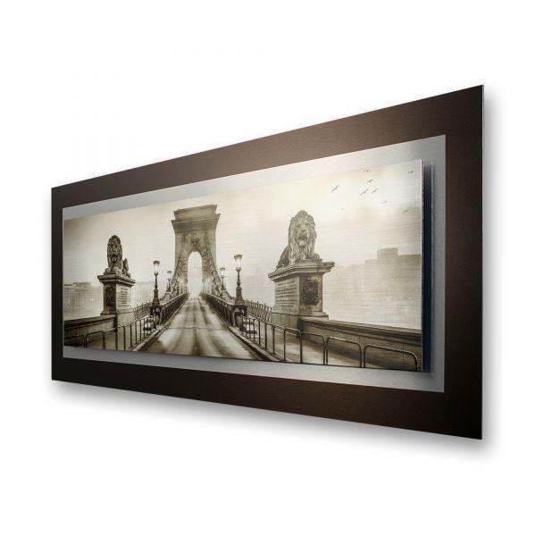 "3D Alu-Wandbild ""Brücke"" aus gebürstetem Aluminium"