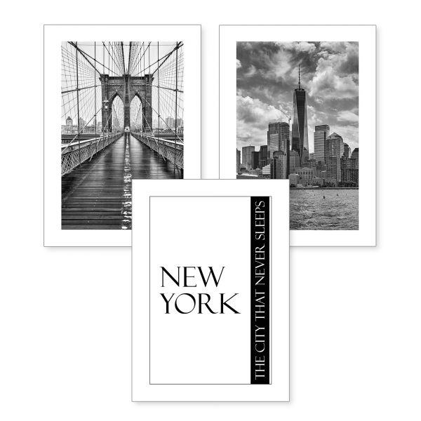 3-teiliges Poster-Set | New York | optional mit Rahmen | DIN A4 oder A3