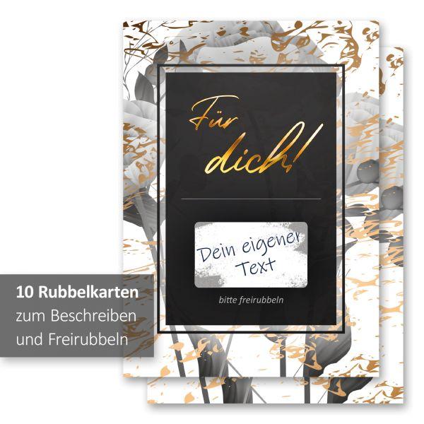 """""""Gold & Black"""" Rubbelkarten im 10er Set mit Umschlägen und Rubbelstickern"""