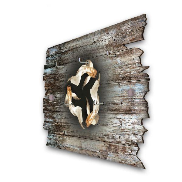 Drei Fische Schlüsselbrett mit 5 Haken im Shabby Style aus Holz