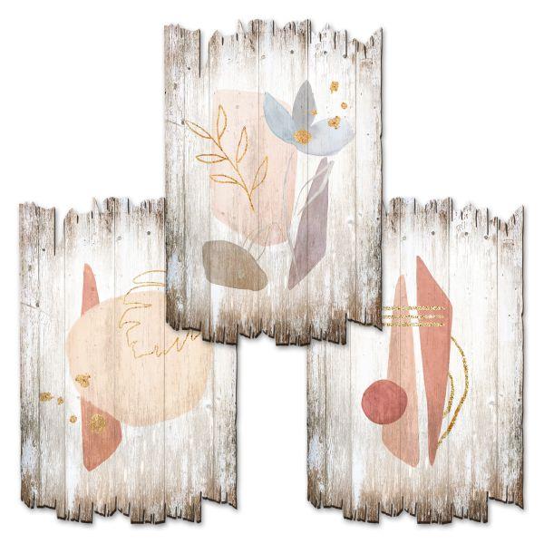 Blume abstrakt | Deko-Holzschilder im 3er Set | wahlw. in 30x20cm oder 30x45cm