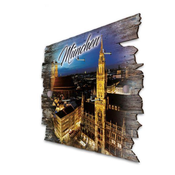 München Schlüsselbrett mit 5 Haken im Shabby Style aus Holz