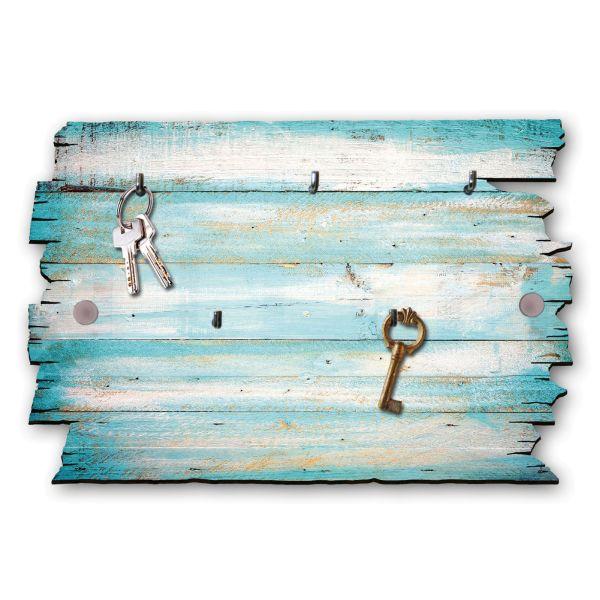 Holzstruktur türkis Schlüsselbrett mit 5 Haken im Shabby Style aus Holz
