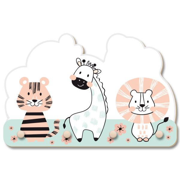 Zootiere Wandgarderobe fürs Kinderzimmer im Norwegian Style aus Holz
