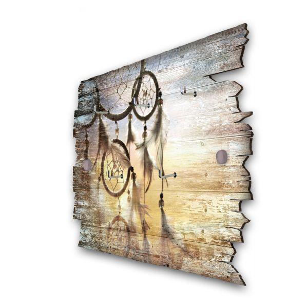 Traumfänger Schlüsselbrett mit 5 Haken im Shabby Style aus Holz