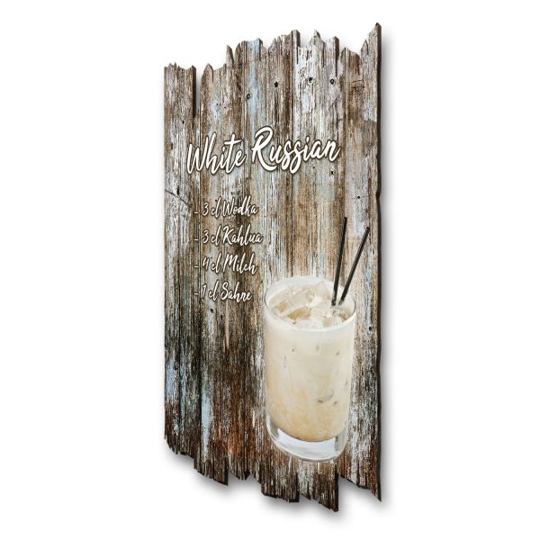 "Cocktail-Holzschild ""White Russian"""