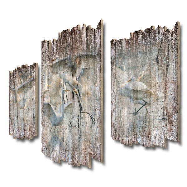 Kranichschwarm Shabby chic 3-Teiler Wandbild aus Massiv-Holz