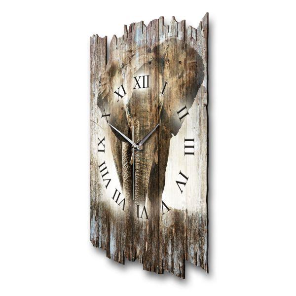 """Designer Funk-Wanduhr """"Elefant"""" aus Naturholz mit leisem Funk- oder Quarzuhrwerk"""