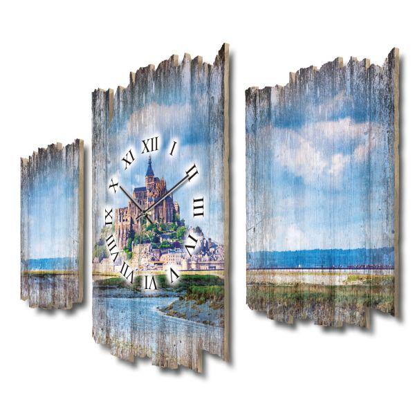 Mont-Saint-Michel Shabby chic Dreiteilige Wanduhr aus MDF mit leisem Funk- oder Quarzuhrwerk