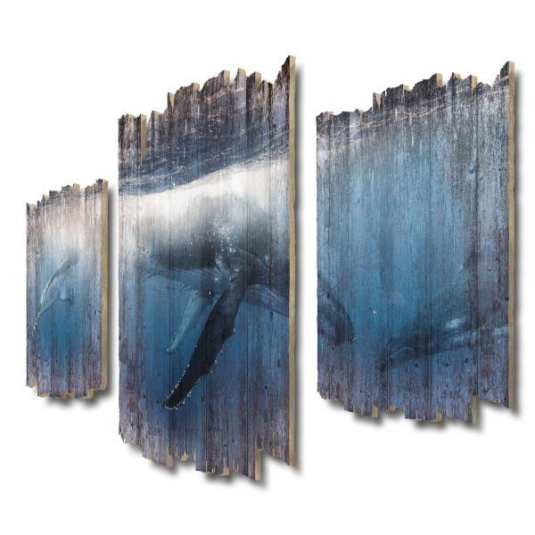 Walmutter Shabby chic 3-Teiler Wandbild aus Massiv-Holz